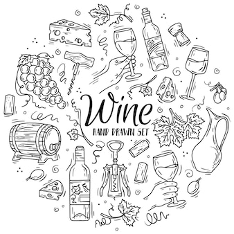 Линейные иконки с вином и сыром в стиле каракули для меню