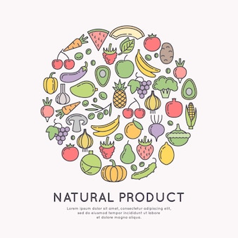 Linear icons of vegetables and fruits. silhouette images of products and food.  illustration.