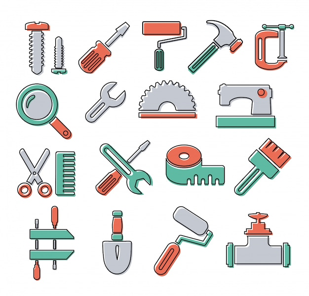 Linear icons with building tools and objects repair