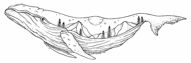 Linear illustration of black and white whale tattoo