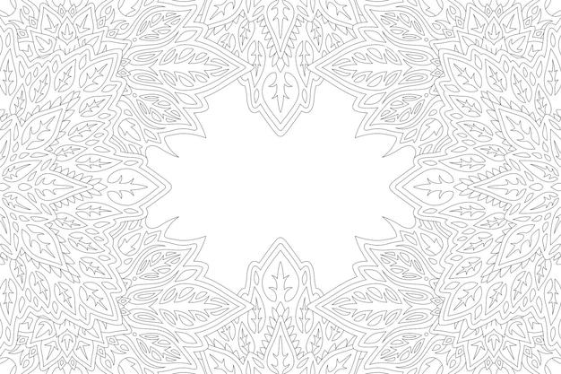 抽象的なヴィンテージの境界線を持つ大人の塗り絵ページの線形イラスト