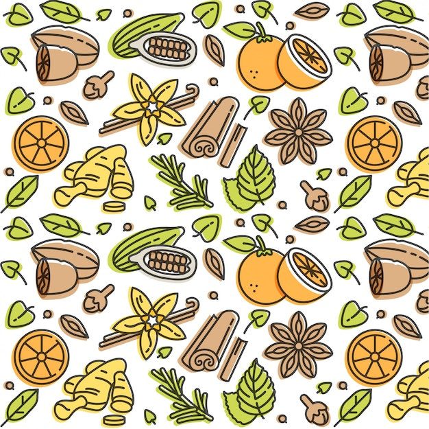 Linear illustration of mulled wine spices and ingredients. different spices-cinnamon stick, clove and citrus slice. pattern.