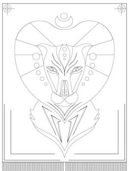 Линейная иллюстрация льва в этническом стиле логотипов, принтов на футболках, сумках и вашего творчества.