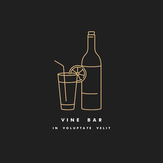 ガラスとワインのボトルの線形図。ワインバーのロゴ看板。黄金色。