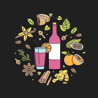 ガラスと成分とグリューワインの線形図。別のスパイスシナモンスティック、クローブ、柑橘類のスライス。黒の背景に分離されました。