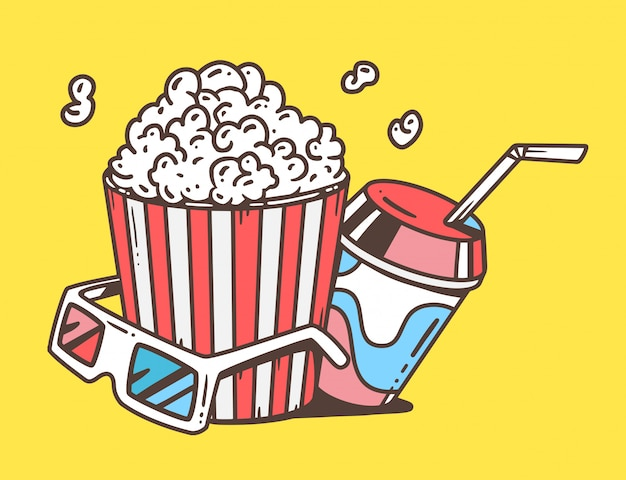 Linear illustration of pop corn with juice and anaglyph glasses for 3d on yellow background.
