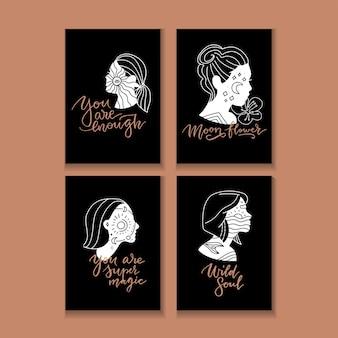 그녀의 머리와 동기 부여 글자 따옴표에 별과 달을 가진 젊은 여자와 선형 삽화. 영감을주는 타이포그래피 포스터.