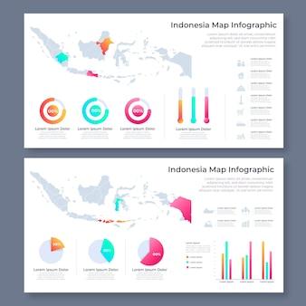 Линейная карта индонезии инфографики шаблон