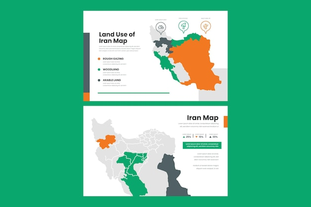 Linear infographic map of iran
