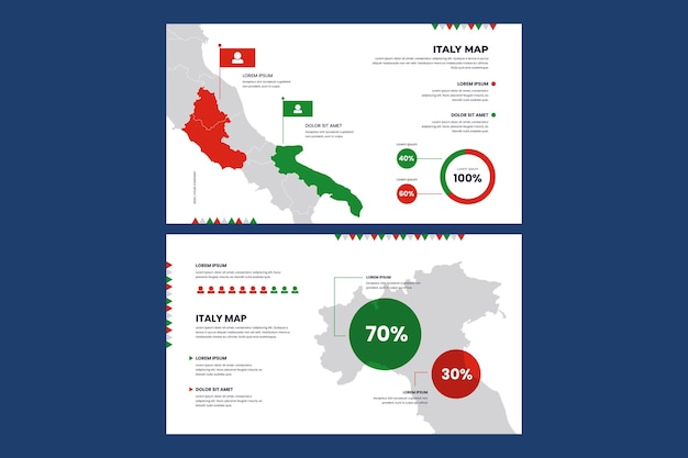 이탈리아의 선형 infographic지도