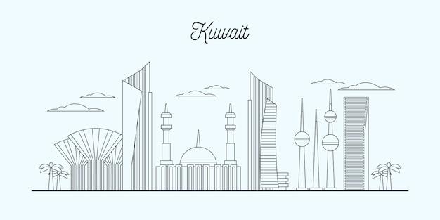 Illustrazione lineare dell'orizzonte del kuwait