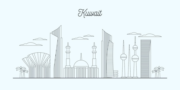 Linear kuwait skyline illustration