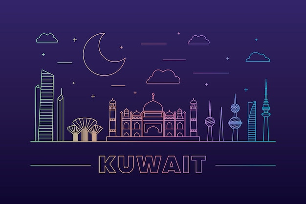 Linear kuwait skyline