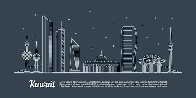 Linear kuwait skyline