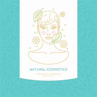 自然化粧品の線形ラベル。健康な髪の少女の頭のイラスト。