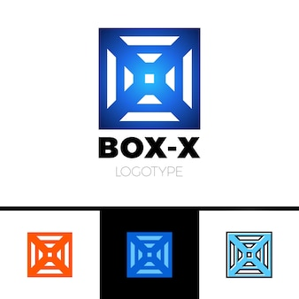 Linear letter x logo monogram in box or cube.