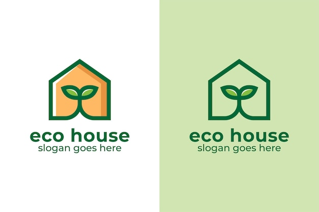 Linear logo design of leaf green house home real estate symbol or icon illustration