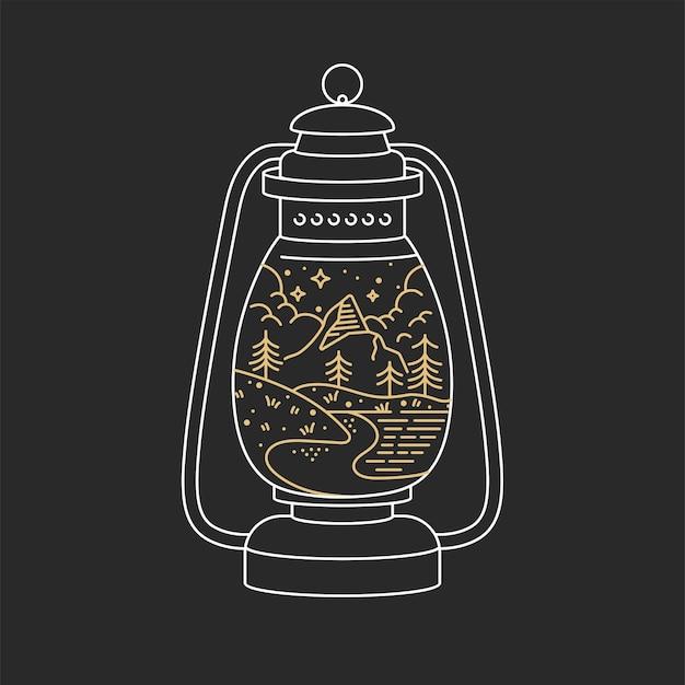 線形のロゴの山。トラベリングエンブレムコンセプト-灯油ランプ
