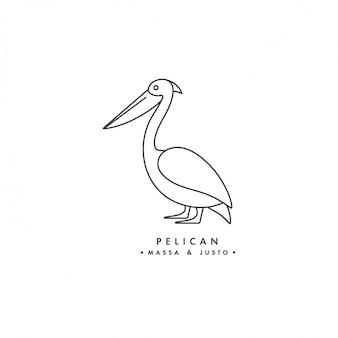 白い背景の上の線形ロゴペリカン鳥。ペリカンのエンブレムやバッジ。