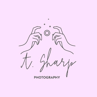 Linear logo of the photographer. women's hands hold the camera shutter. abstract symbol for a photo studio in a simple minimalistic style. vector logo template for wedding photographer