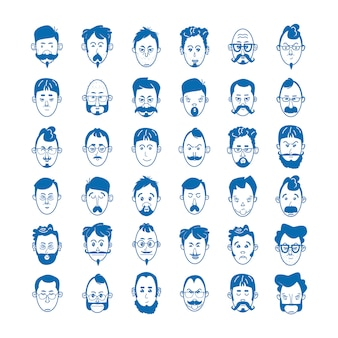 Linear men, with beards and mustaches with glasses and bald. character concept avatar and emoji. vector illustration of blue icons in flat line style