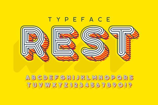 Линейный современный дизайн алфавита popart, буквы и цифры.