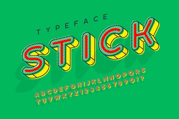 Linear modern popart alphabet design, letters and numbers.