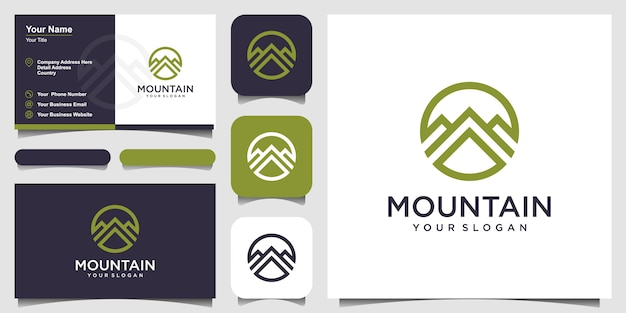 線形山ロゴ。旅行冒険自然名刺