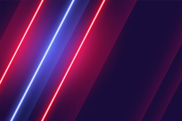 Linear neon red and blue lights background design