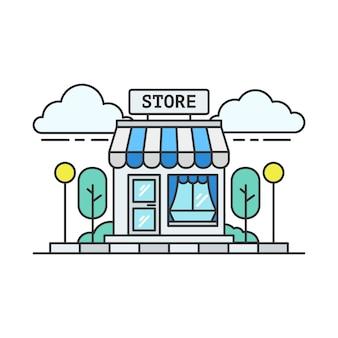 파란색 식료품 점 또는 슈퍼마켓의 선형