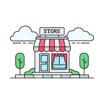 빨간색 식료품 점 또는 슈퍼마켓의 선형