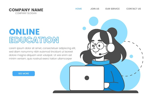 Linear online learning landing page template