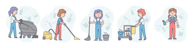 선형 개요 및 부드러운 색상. 청소 회사의 다섯 명의 여성과 함께하는 예술