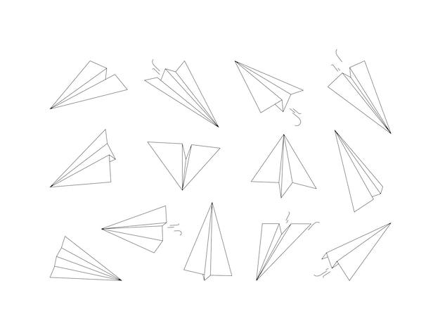 Линейные бумажные самолетики. рисование оригами авиатранспортная воздушная коллекция. иллюстрация бумажный самолетик рисунок, линейный оригами самолет