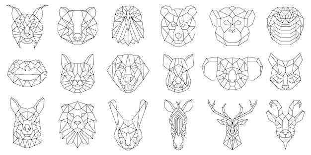 Линейные многоугольные животные медведь, змея, геометрические головы собаки. низкополигональная морда животных, кабан, лама, рысь и коала векторные иллюстрации. полигональные портреты животных