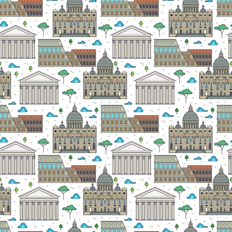 Linear rome famous buildings seamless pattern