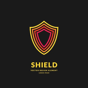 Linear shield a symbol of security and reliability minimalistic vector illustration