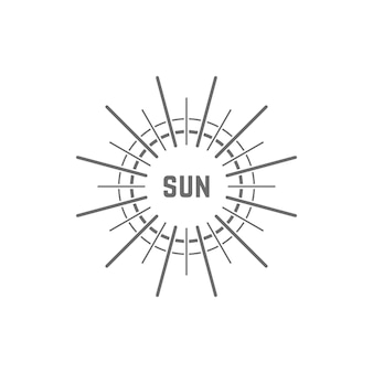Linear simple gray sun logo. concept of glow, vacation, white light, tropical, spring horizon, sol, daystar. flat style trend modern brand design element vector illustration on white background