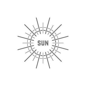 Линейный простой серый логотип солнца. концепция свечения, отпуск, белый свет, тропический, весенний горизонт, соль, дневная звезда. плоский стиль тенденции современный бренд дизайн элемент векторные иллюстрации на белом фоне
