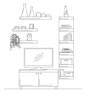 Линейный эскиз интерьера. книжный шкаф, комод с тв и полками. векторная иллюстрация