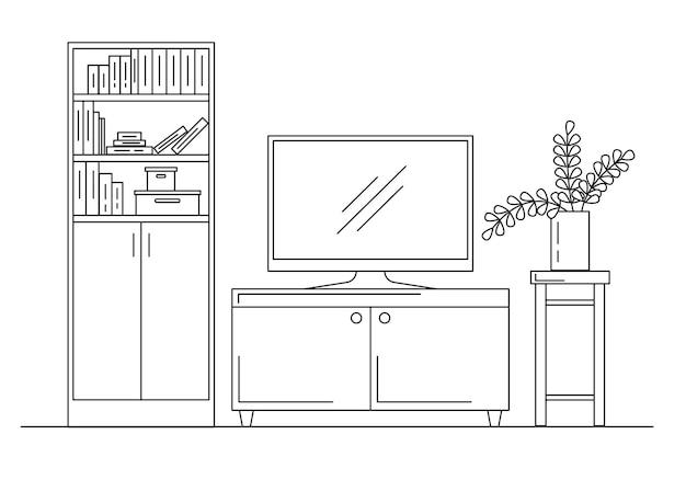 내부의 선형 스케치입니다. 책장, tv와 선반이 있는 화장대. 벡터 일러스트 레이 션