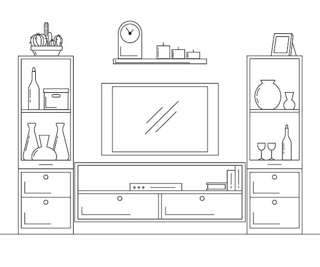 内部の線形スケッチ。本棚、テレビと棚付きのドレッサー。ベクトルイラスト