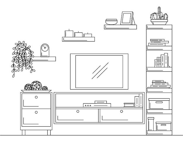 내부의 선형 스케치. 책장, tv와 선반이있는 옷장.