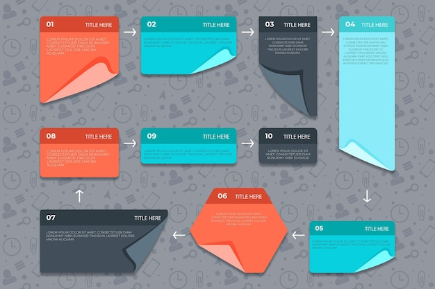 Linear sticky note board infogrpahics