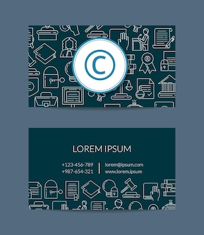 Шаблон визитной карточки с элементами авторского права в линейном стиле для юриста или иллюстрации компании по защите авторских прав