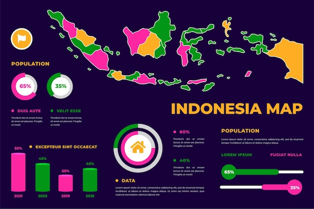 Linear style indonesia map infographic