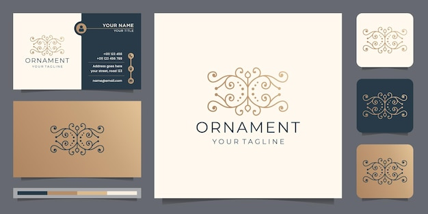Linear style ornament logo with business card design.luxury slim style decoration, vintage, element.