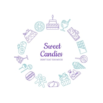 Linear style sweets icons in form of circle