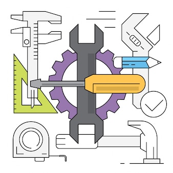 Linear style tool illustrations