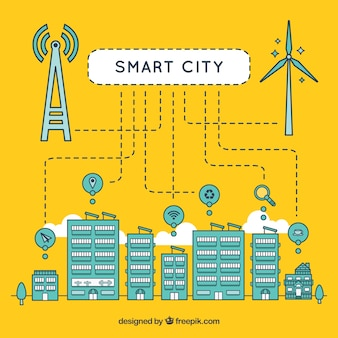 Linear technological city background